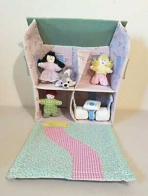 Pottery Barn Kids Cloth Dollhouse With Furniture & Dolls 8 Piece