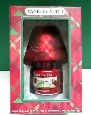 """New Yankee Candle Cherries On Snow 3.7 Oz Jar Candle W 3"""" Shade~2-piece Gift Set"""