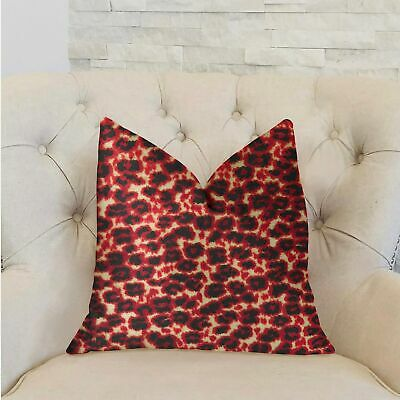 Plutus Crimson Cheetah Black And Red Luxury Decorative Throw Black Double Sided