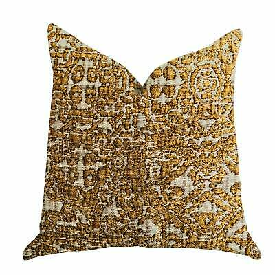 Plutus Golden Cosmo Textured Luxury Decorative Throw Pillow Gold, Beige Double S