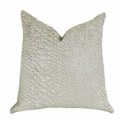 Plutus Mystical Iceberg Decorative Throw Pillow In White And White, Silver Doubl