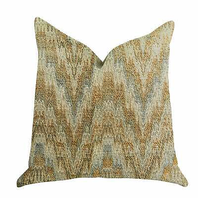 Plutus Designer Ripple Luxury Decorative Throw Pillow Brown, Blue, Beige Double