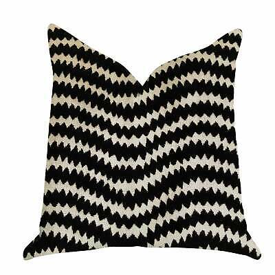 Plutus Jagged Fringe Luxury Decorative Throw Pillow In Black Black, Beige Double
