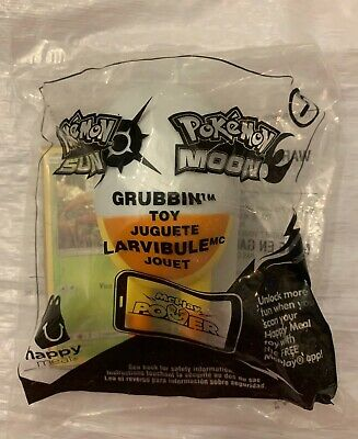 2017 McDonalds Happy Meal Toy Pokemon Sun and Moon #7 Grubbin with Card