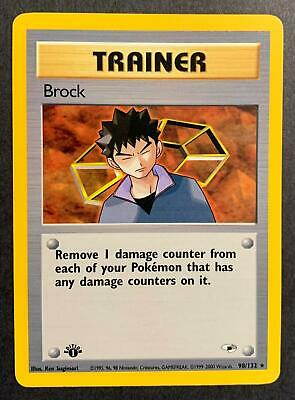 BROCK TRAINER - 1st Edition Gym Heroes - 98/132 - Rare - Pokemon Mint Condition
