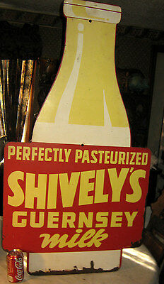 Antique Shivelys Country Usa Dairy Cow Milk Bottle Metal Cream Advertising Sign