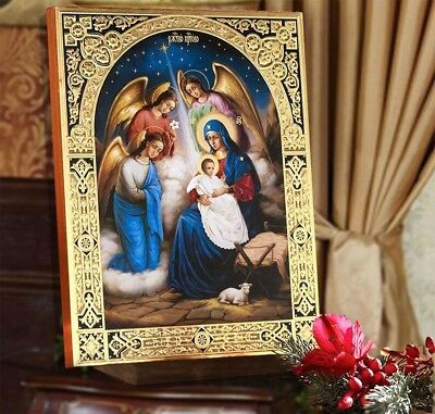 """Wood Gold Nativity Of Christ Jesus Icon Queen Of Angels Nativity Scene 8"""" Wow !!"""