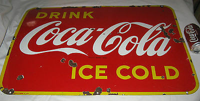 Antique 1946 Coca Cola Soda Porcelain Bottle Advertising Store Display Art Sign