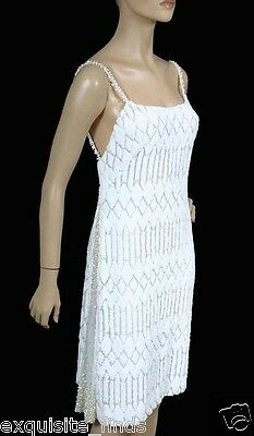 Rare Vintage Gianni Versace Couture White Burnout Velvet And Tulle Dress 40 - 6
