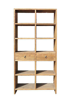 Rustic Raw Wood Open Shelf  Bookcase Display Cabinet Cs1207
