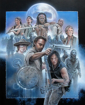 Original Walking Dead Collage Airbrush Framed Painting