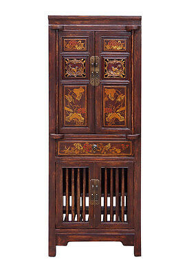 Chinese Brown Narrow Wood Carving Storage Hutch Cabinet Cs1515