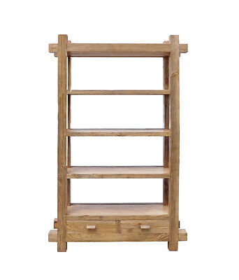 Rustic Raw Wood Open Shelf  Bookcase Display Cabinet Cs1548