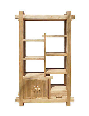 Rustic Raw Wood Open Shelf  Bookcase Display Cabinet Cs1551