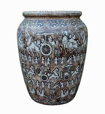 Chinese Oriental Stone Carved Tall Pot Planter Cs2357