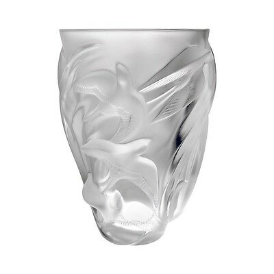 New Lalique Martinets Vase Crystal Brand New In Box #1230800 France Save$ F/s
