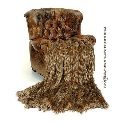 Premium Faux Fur Throw Blanket Exotic Brown Feather Fur With Minky Cuddle Lining