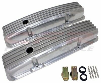 Short Fully Finned Polished Valve Covers For 58-86 Chevy Sb 283 305 327 350 400