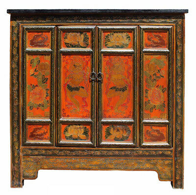 Chinese Distressed Orange Tibetan Graphic Side Table Cabinet Cs2647