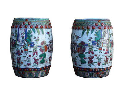 Pair Chinese Porcelain Kids Playing Scenery Round Stools Cs2684