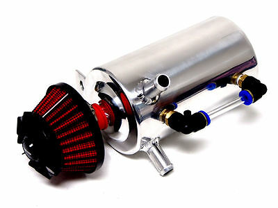 Vms Polished Aluminum .5 Liter Oil Reservoir Catch Can Tank Red Breather Filter