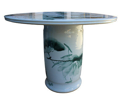 Chinese White Porcelain Green Lotus Fish Theme Round Table Cs2807