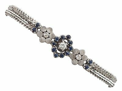 Vintage 0.40 Ct Sapphire And 0.33 Ct Diamond, 18 K White Gold Bracelet, 1970s