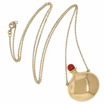 Tiffany & Co. Jewelry Peretti 18k Yellow Gold Coral Open Bottle Pendant Necklace