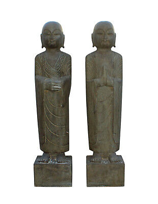 Pair Chinese Stone Carved Standing Monk Lohon Statues Cs3211