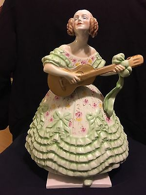 Herend Porcelains Guitar Player Lady  W/ Ruffled Green Floral Dress %50 Off Pric