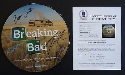 Breaking Bad Bryan Cranston +3 Autographed Signed Picture Disc Lp Bas Certified