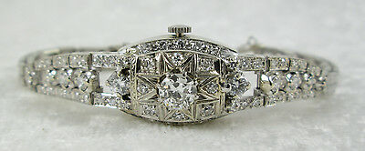 Vintage Hamilton Ladies Watch 14k White Gold Diamond 6 Inch Wrist 20.8 Grams
