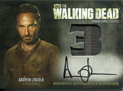 The Walking Dead Season 3 Part 2 Autographed Wardrobe Card Am9 Andrew Lincoln