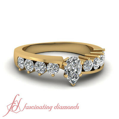 gia certified pear shaped yellow gold diamond journey wedding rings set 1.20 ct