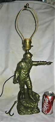 Antique Jb Maritime Us Sea Fisherman Whale Boat Anchor Art Statue Bookends Lamp