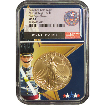 2018-w Burnished $50 American Gold Eagle 1 Oz Ngc Ms69 Fdi West Point Core
