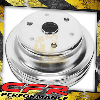 1969-85 Chevy Small Block Chrome Steel Crankshaft Pulley - Long (2 Groove)