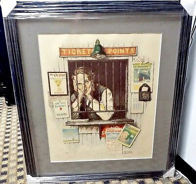 Norman Rockwell - Ticket Agent Lithograph - Hand Signed Numbered - Framed W/ Coa