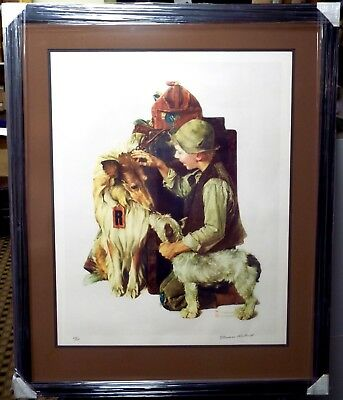 Norman Rockwell - Raleigh Travels Two Dogs Lithograph - Hand Signed