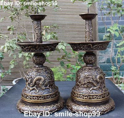 "20""rare Pure Bronze Dragon Dragons Loong Candle Candlestick Holder Oil Lamp Pair"