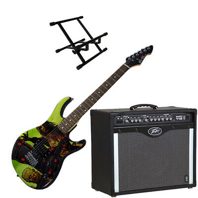 Peavey Bandit 112 Amp And Walking Dead Riot Guitar With Amp Stand