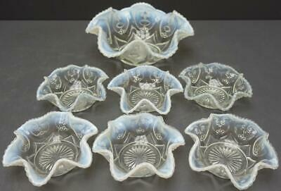 Set Of 7 White Opalescent Glass Victor Jeweled Heart Berry Bowls 1229 B
