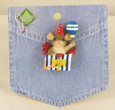 Charming Tails Lapel Pin Mouse In A Birthday Present Box By Dean Griff 80/120