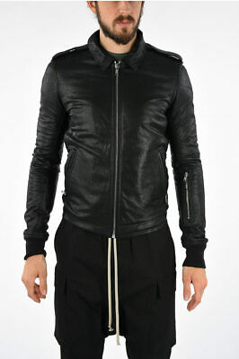 Rick Owens Men Jackets Leather Rotterdam Jacket Black
