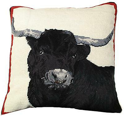 Throw Pillow Needlepoint Steer Cow 20x20 Black Silver New Mh-610