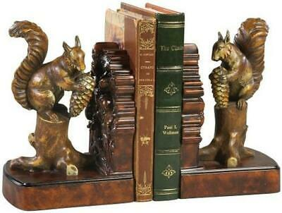 Bookends Bookend Mountain Rustic Pinecone And Squirrel Resin New Hand-pa