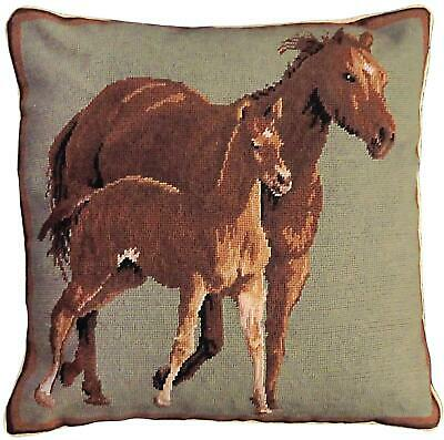 Throw Pillow Needlepoint Quarter Horses Horse Right 20x20 Sage Green Wool