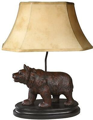 Table Lamp Walking Bear Cast Resin Linen Shade New Hand-cast This Item W