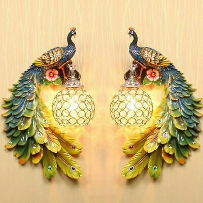 Nordic Luxury Crystal Wall Lamp Bohemian Peacock Retro Wall Bedside Light Led To