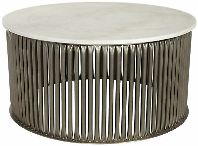 Noir Lenox Metal And Stone Coffee Table With Antique Silver Finish Gtab1008asv